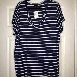NWT H By Bordeaux Split Neck Striped T-Shirt